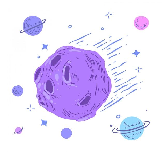 Doodle di meteorite Vettore Premium