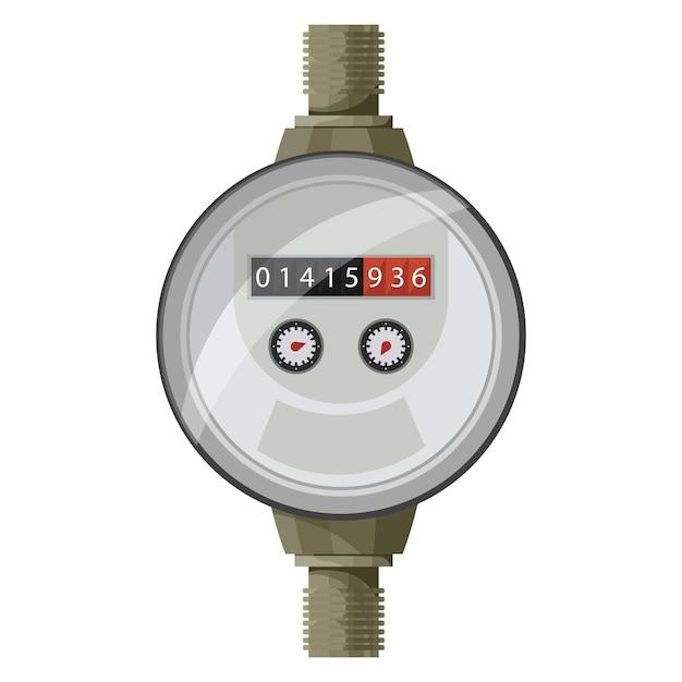 Contatore del contatore. misura della potenza dell'acqua. Vettore Premium