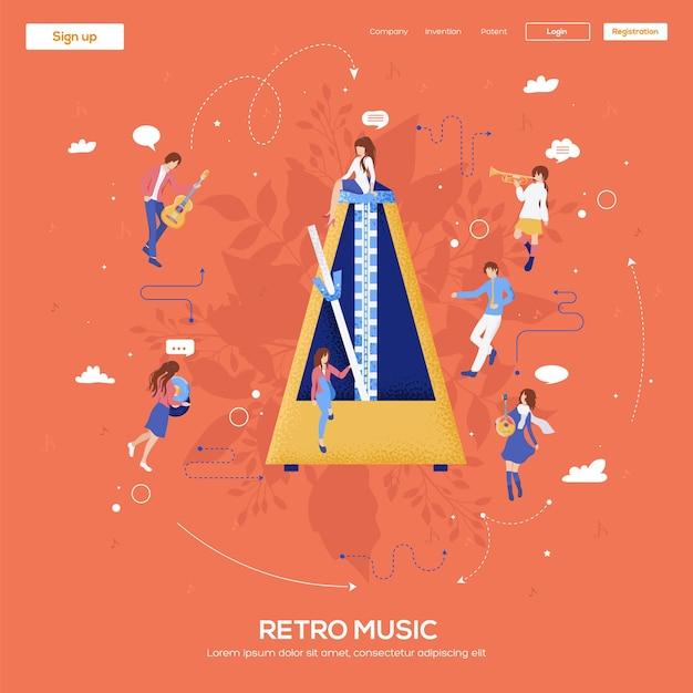 Volantino metronomo, riviste, poster, copertina di libro, banner. . Vettore Premium