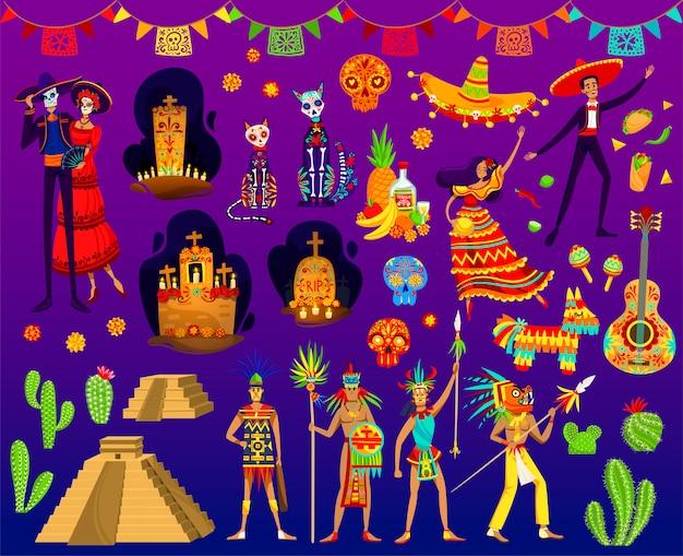 Illustrazioni azteche messicane, cartoni animati con ornamenti folk tradizionali o elementi del partito day of dead dal messico Vettore Premium
