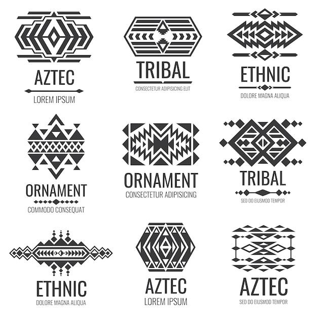 Simboli aztechi messicani. ornamenti tribali vettoriale vintage Vettore Premium