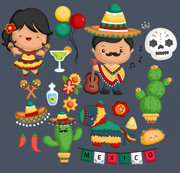 Cultura e tradizione messicana Vettore Premium