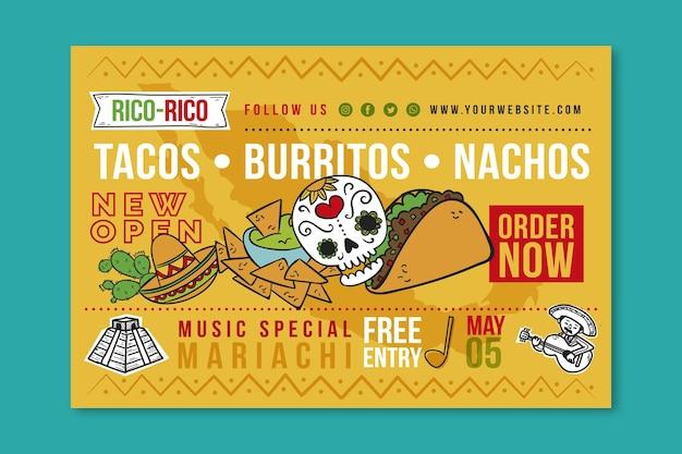 Banner di cibo messicano Vettore Premium