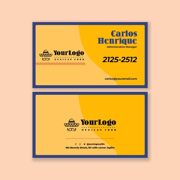 Modello orizzontale di biglietto da visita di cibo messicano Vettore Premium