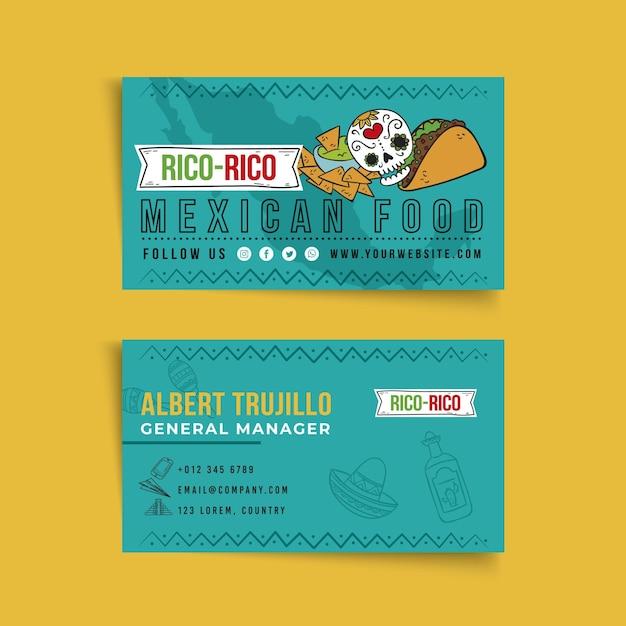 Biglietto da visita fronte-retro di cibo messicano Vettore Premium