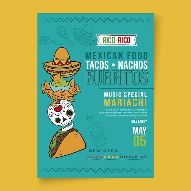 Aletta di filatoio di cibo messicano verticale Vettore Premium