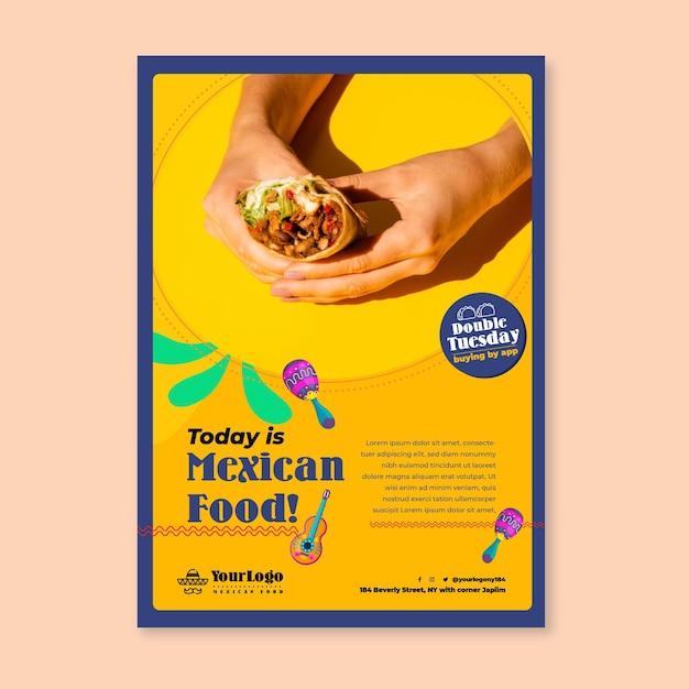 Modello di poster di cibo messicano Vettore Premium