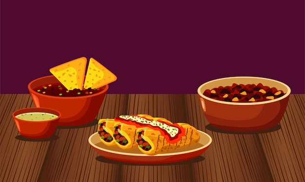 Ristorante di cucina messicana con menu in un tavolo di legno Vettore Premium
