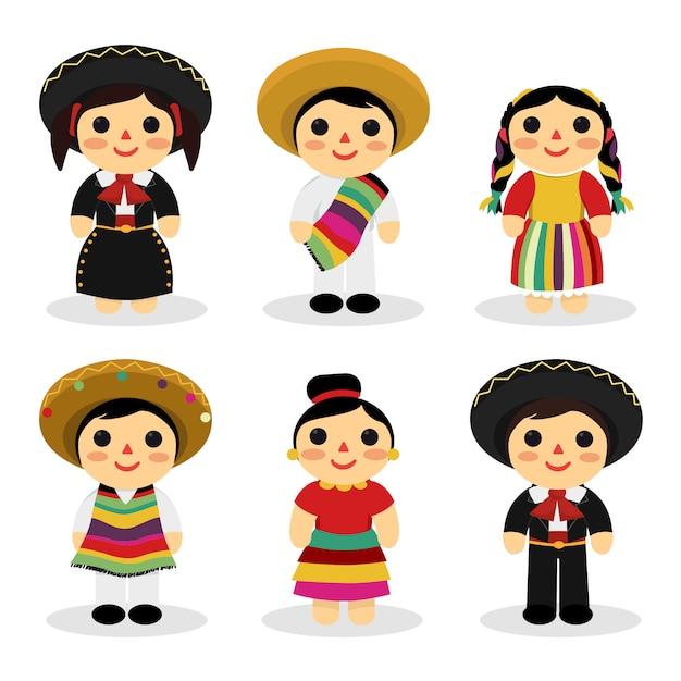 Giocattoli per bambini messicani con costumi tradizionali Vettore Premium