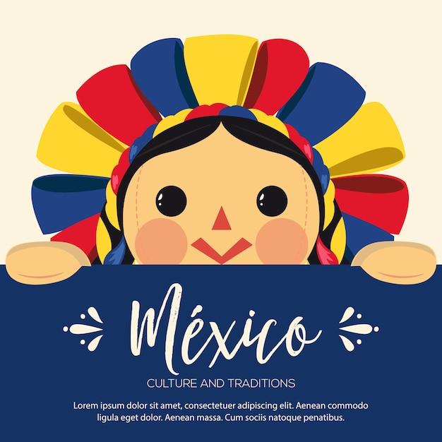 Illustrazione tradizionale messicana della bambola di maria Vettore Premium