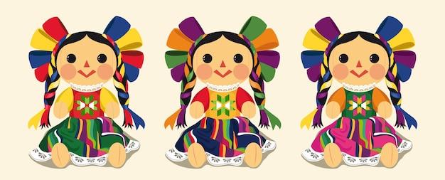 Set di bambole maria tradizionale messicana Vettore Premium