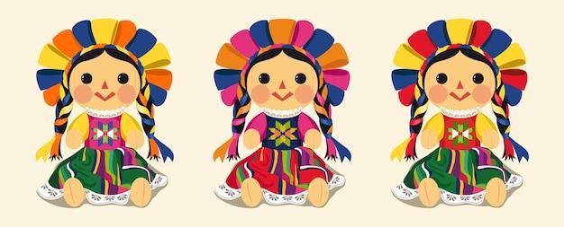 Set di bambole maria messicana tradizionale Vettore Premium