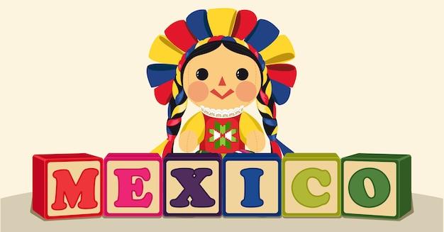 Bambola maria messicana tradizionale con blocchi di legno Vettore Premium