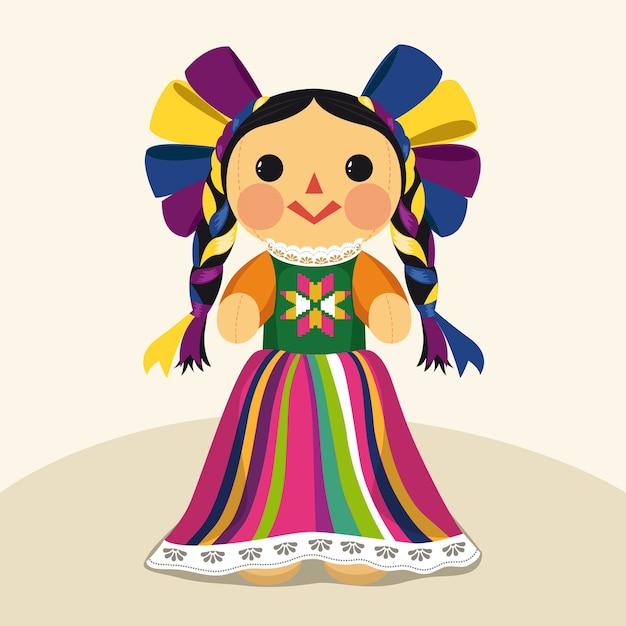Bambola maria tradizionale messicana Vettore Premium