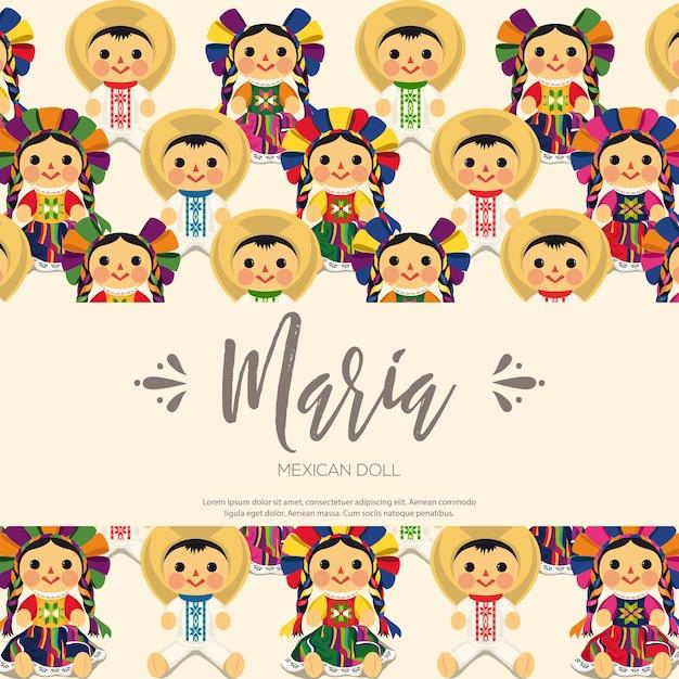 Composizione tradizionale messicana di bambole maria Vettore Premium