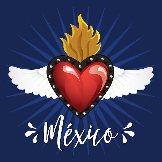 Cuori d'ottone sacri tradizionali messicani Vettore Premium