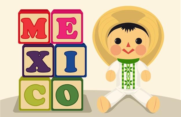 Giocattoli tradizionali messicani con bambola e cubi Vettore Premium