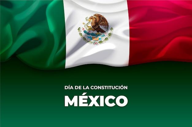 Giorno della costituzione del messico con bandiera Vettore Premium