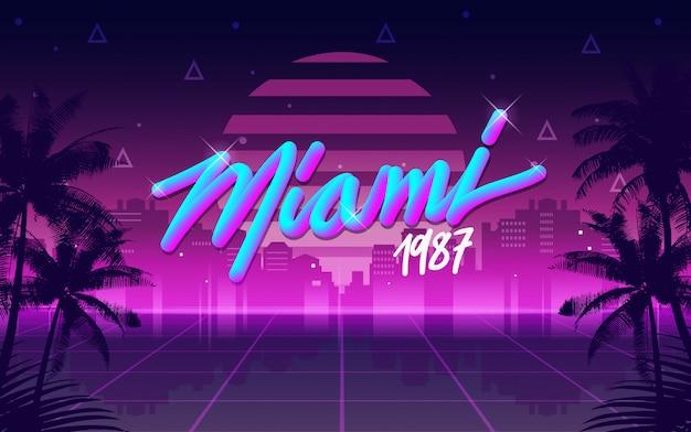 Miami 1987 retro anni '80 lettering e sfondo Vettore Premium