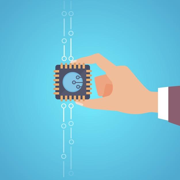 Illustrazione del microchip isolato su priorità bassa blu Vettore Premium