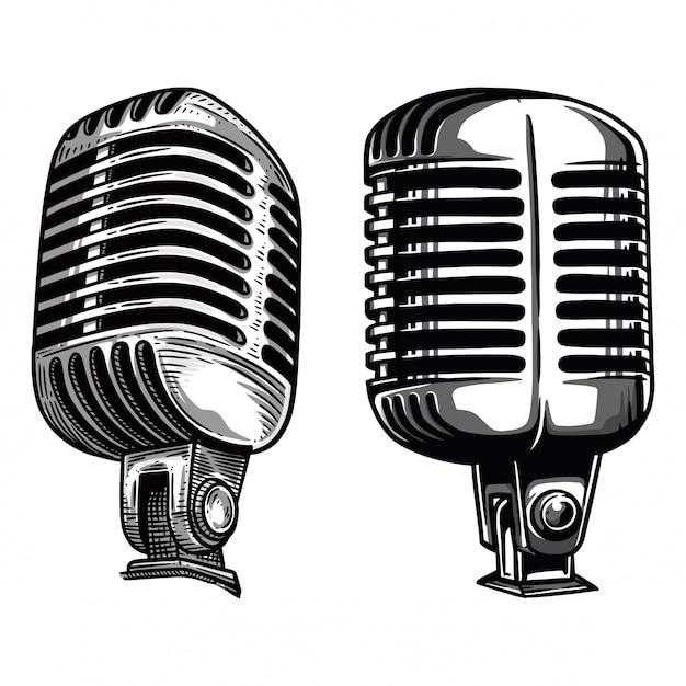 Illustrazione del microfono Vettore Premium