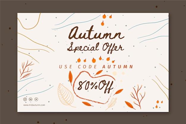 Modello di banner di metà autunno Vettore Premium
