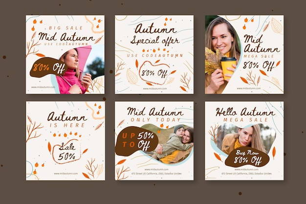 Raccolta di post instagram di metà autunno Vettore Premium