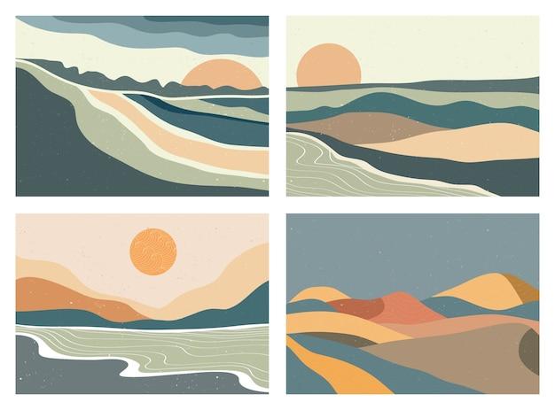 Stampa d'arte minimalista moderna di metà secolo. paesaggi di sfondi estetici contemporanei astratti impostati con sole, luna, mare, montagne. illustrazioni vettoriali Vettore Premium