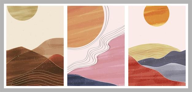 Stampa d'arte minimalista moderna di metà secolo. set di paesaggi di sfondi estetici contemporanei astratti Vettore Premium