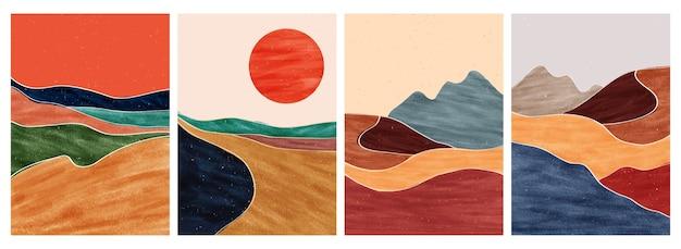 Stampa d'arte minimalista moderna di metà secolo. Vettore Premium