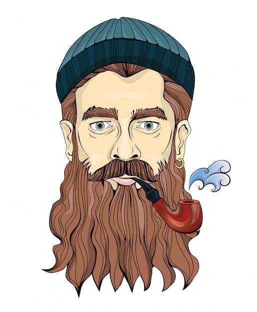 Un uomo di mezza età con la barba che fuma la pipa. il marinaio o il pescatore con un cappello lavorato a maglia. illustrazione ritratto, su bianco. Vettore Premium