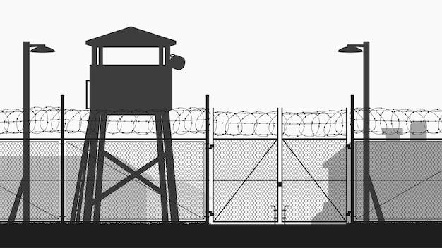 Base militare con torre di guardia e sagoma di recinzione a catena Vettore Premium
