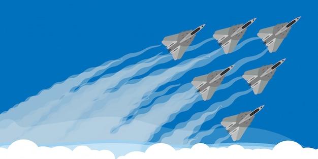 Aereo da caccia militare con l'illustrazione del fondo della traccia del fumo del cielo. air show aereo vola prestazioni acrobatiche. forza di dimostrazione della squadra dell'esercito di velocità Vettore Premium