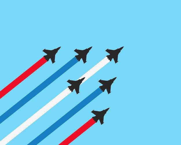 Jet da combattimento militari con sentieri Vettore Premium