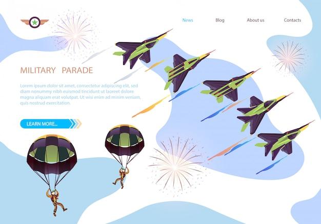 Insegna isometrica di parata militare con lo show aereo Vettore Premium