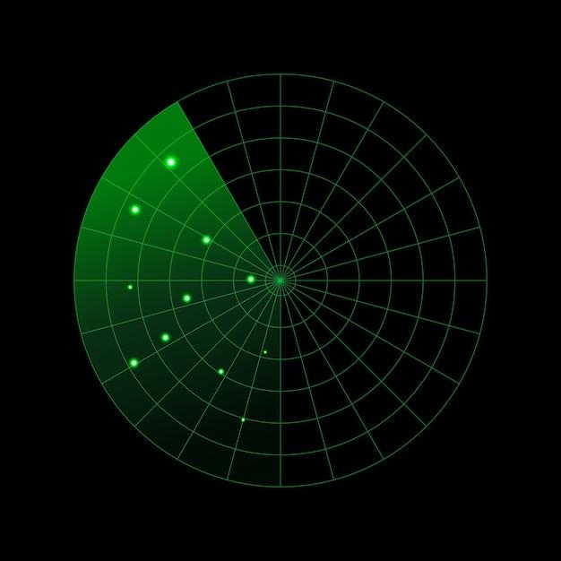 Illustrazione di concetto di radar militare Vettore Premium
