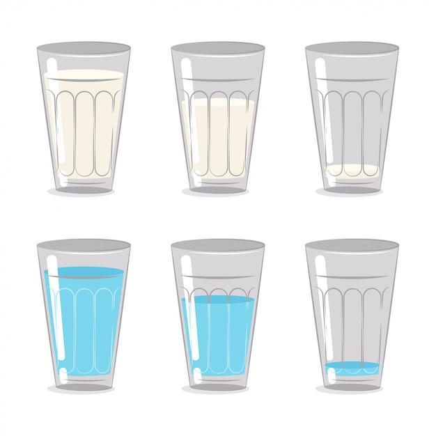 Latte e acqua in un bicchiere di vetro. set di cartoni animati isolato su sfondo bianco. Vettore Premium