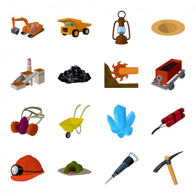 Icona stabilita del fumetto di industria mineraria icona stabilita del fumetto isolata minatore. industria di miniera di illustrazione. Vettore Premium