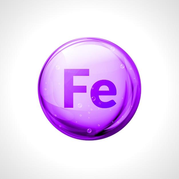Mineral ferrum shining pill capcule. fe simbolo formula di ferro. sostanza nutritiva complessa di vitamina ferrum. Vettore Premium