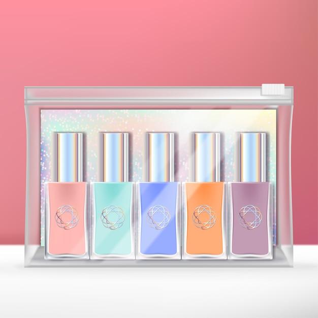 Mini set di smalti con retro olografico e confezione trasparente con chiusura a cerniera. Vettore Premium