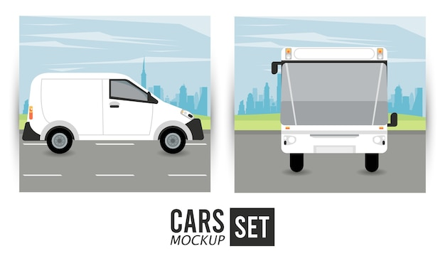 Veicoli per auto mini van e bus mockup Vettore Premium