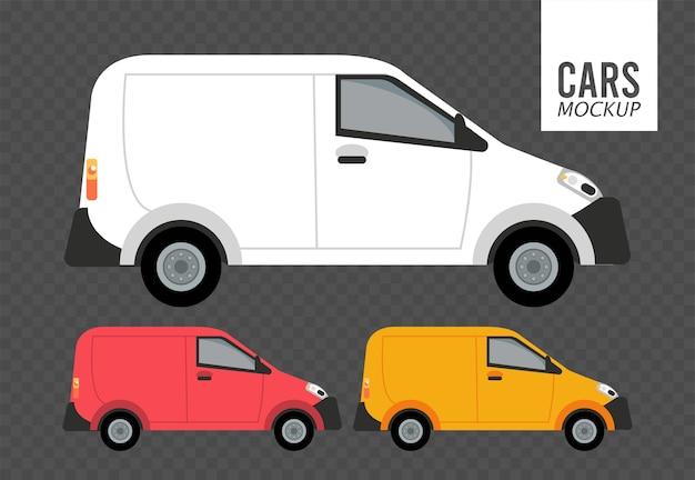 Mini furgoni mockup vetture veicoli Vettore Premium