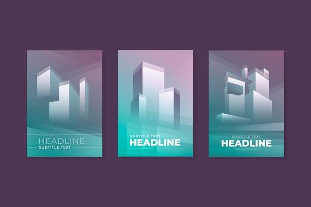Collezione di copertine di architettura minimale Vettore Premium