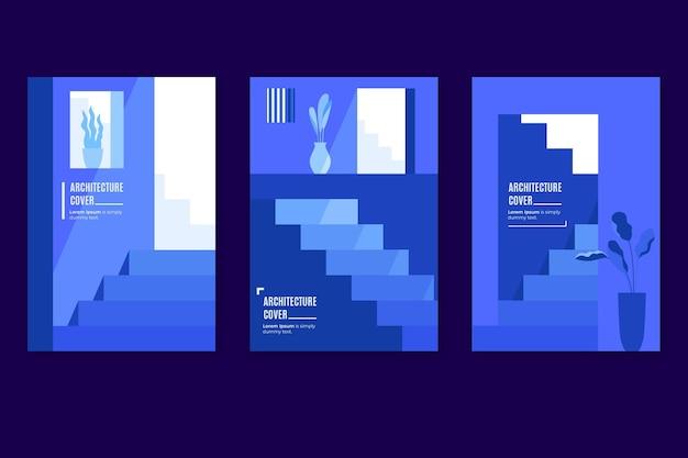 Collezione di copertine minimal architercture Vettore Premium