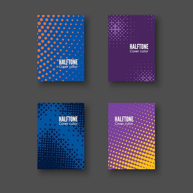Copertine minime. set di motivi geometrici. modello di identità minimalista. gradienti mezzitoni colorati. illustrazione Vettore Premium