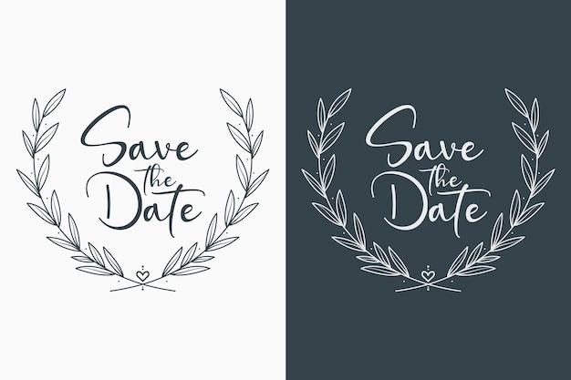 Distintivi di nozze floreali minimi Vettore Premium