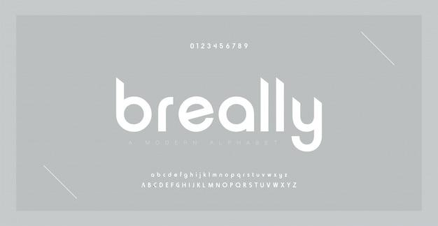 Alfabeto moderno creativo minimal font. tipografia con punto regolare e numero. set di caratteri in stile minimalista. Vettore Premium