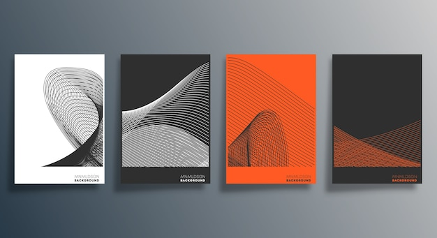 Design geometrico minimale per flyer Vettore Premium