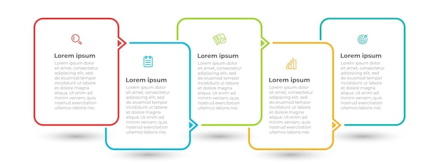 Modello di infografica minimale con icone e 5 opzioni o passaggi Vettore Premium