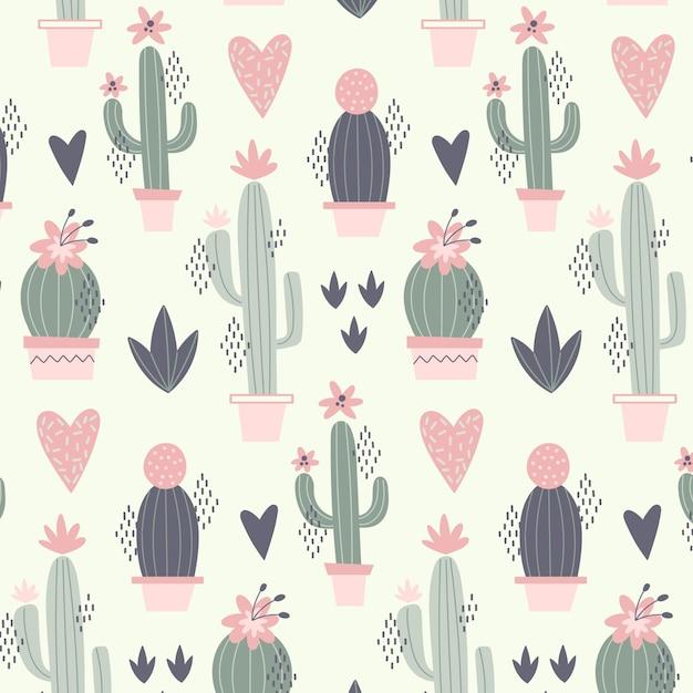 Modello minimal con piante di cactus Vettore Premium